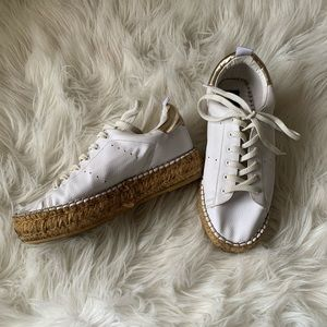White pleather platform espadrille sneakers
